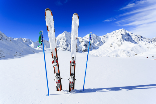 Ski -equipments- on- ski- run