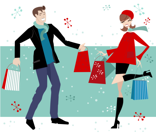 Cartoon- winter -shopping- couple